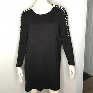 Kensie Long Sleeve Open Shoulder Tunic Tee Dress